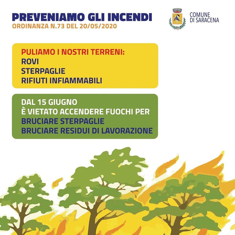Prevenzione degli incendi: dal 15 giugno a Saracena vietata l'accensione di fuochi per bruciare sterpaglie
